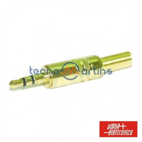 Ficha Jack 3.5mm Macho Stéreo c/ Protecção Dourado