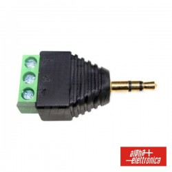 Ficha Jack 3.5mm Macho Stereo c/ Terminal Em Parafuso