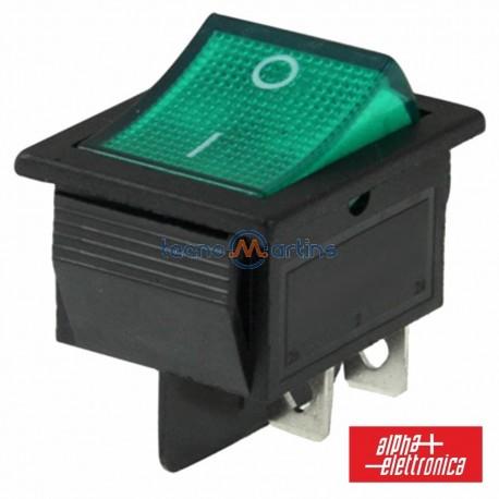 Interruptor de Potência 6A-250V Dpst On-Off Luminoso Verde