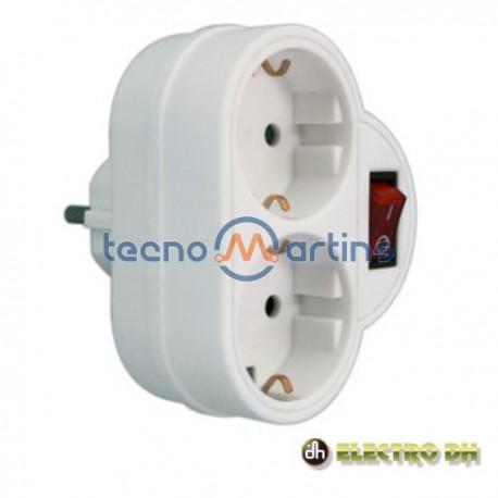 Tomada Eléctrica c/ 2 Saídas Interruptor Branco Edh