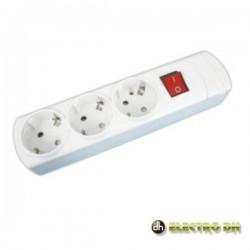 Base Eléctrica Tripla Schuko c/Interruptor Edh