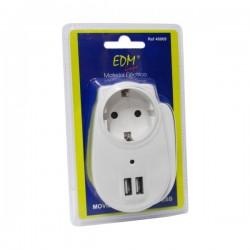 Tomada Eléctrica 1 Schuko E 2 Usb c/ Protecção Branca