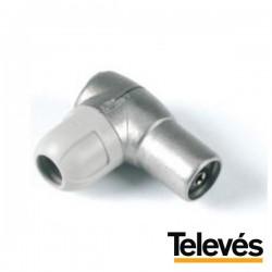 Ficha Coaxial Fêmea 9.5mm Angular Televés