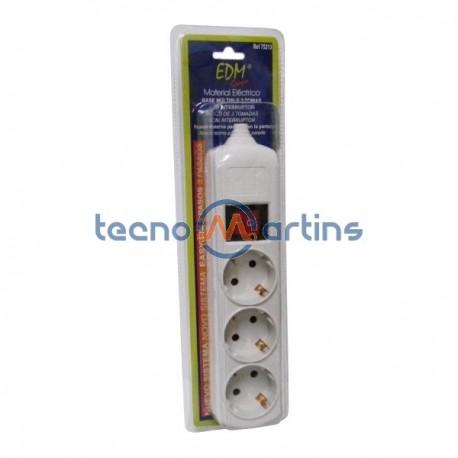 Base Eléctrica Tripla Schuko c/Interruptor