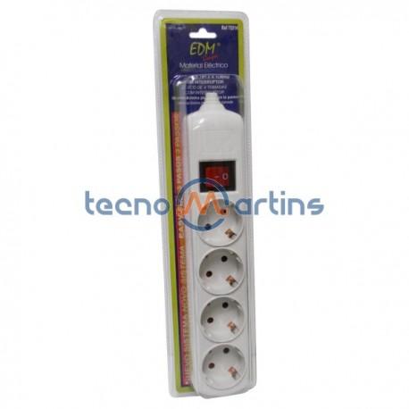 Base Eléctrica Quadrupla Schuko c/Interruptor