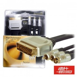 Cabo Profissional Scart Macho / 2Rca-Svhs Macho 1.5M Blister