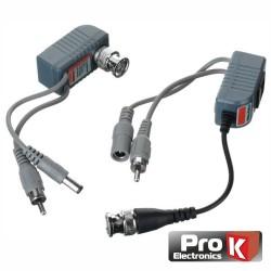 Conversor Passivo 2X Balun Vídeo Áudio c/ Dc Rj45 Prok