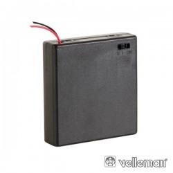 Suporte p/ 4 Pilhas AA c/ Fios E Interruptor
