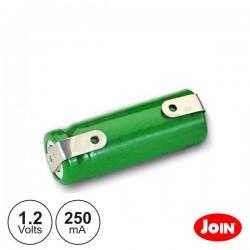 Bateria Ni-Mh 1/2AAA 1.2V 250Ma c/ Patilhas