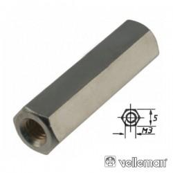 Separador Circuito Impr Hexagonal Metal 20mm M3 Fêmea/Fêmea