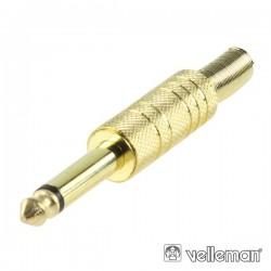 Ficha Jack 6.35mm Macho c/ Protecção Mola Dourado Mn