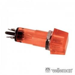 Luz Piloto Quadrado Vermelho 11.5X11.5mm 12V Velleman