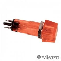 Luz Piloto Quadrado Vermelho 11.5X11.5mm 220V Velleman
