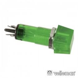Luz Piloto Quadrado Verde 11.5X11.5mm 220V Velleman