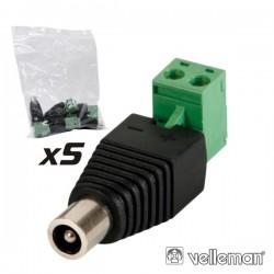 Ficha Alimentação Dc Macho 5.5X2.5mm Ligação Parafuso (5X)
