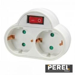 Tomada Eléctrica c/ 2 Saídas Interruptor Branco Perel