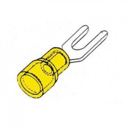 Terminal Forquilha Isolado 6.4mm 10X Amarelo Blister