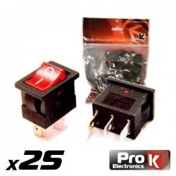 Interruptor Simples On-Off c/Ilumi. 8.5A/250V 25X Prok