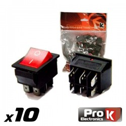 Interruptor Simples On-Off c/Ilumi. 15A/250V 10X Prok