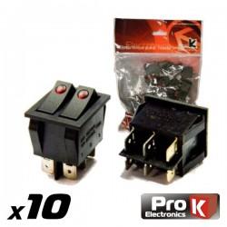 Interruptor Duplo On-Off c/Ilumi.15A/250V Vermelho - Prok