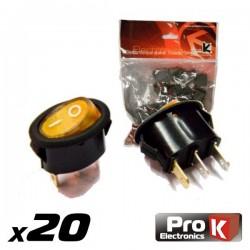 Interruptor Simples On-Off c/Ilumi. 5A/250V 20X Prok