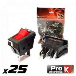 Interruptor Simples On-Off c/Ilumi. 16A/250V 25X Prok