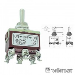 Interruptor Alavanca Maxi Dpdt On-Off-On 10A/250V