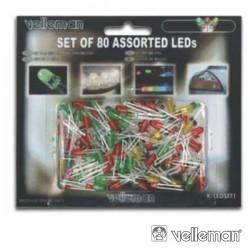 Conjunto de 80 LEDs 3mm-5mm Cores Sortidas