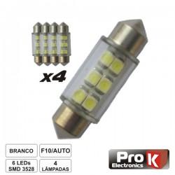 Lâmpada p/ Automóvel 12V 6 Leds Branco 4X Prok