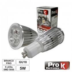 Lâmpada LED Gu10 5W 230V 5 Leds Smd 5050 Branco Frio Prok
