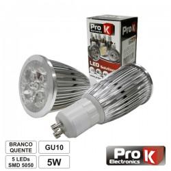 Lâmpada LED Gu10 5W 230V 5 Leds Smd 5050 Branco Quente Prok