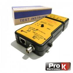 Testador de Cabos Rede Bnc/Utp/Stp Profissional Prok