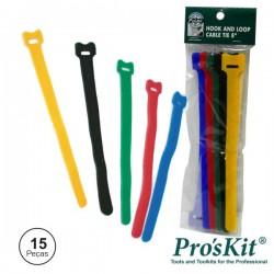 Braçadeira Velcro Multicor 125mm 15x Pro'sKit
