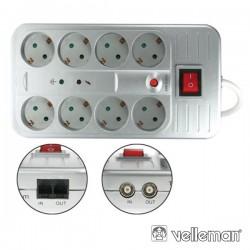 Tomada Eléctrica c/ 8 Saídas Interruptor 1.5M Velleman