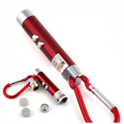 Ponteiro Laser Vermelho c/2 Leds Brancos
