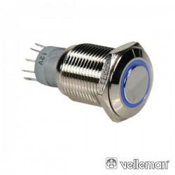 Interruptor Redondo de Metal Spdt 1Na 1Nc Anel Azul