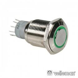 Interruptor Redondo de Metal Spdt 1Na 1Nc Anel Verde