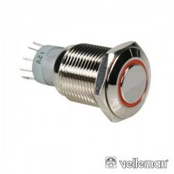 Interruptor Redondo de Metal Spdt 1Na 1Nc Anel Laranja