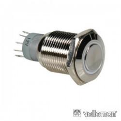 Interruptor Redondo de Metal Spdt 1Na 1Nc Anel Branco