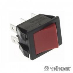 Interruptor Basculante 10A-250V Dpdt On-On Tecla Vermelha