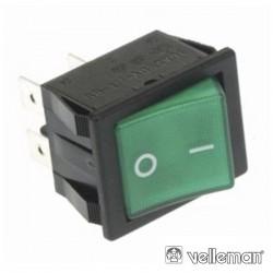 Interruptor Basculante 15A 250V DPST On-Off Luminoso Verde