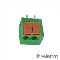 Bloco de 2 Terminais c/ Mola (0.6 a 1.5mm²) 5.0mm para PCB - Verde
