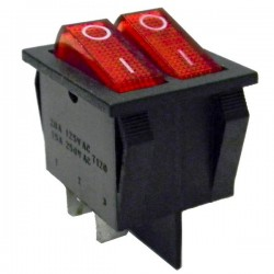 Interruptor Basculante Duplo On-Off SPST 6P c/ Iluminação