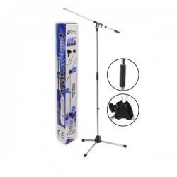 Suporte Tripé Microfone Profissional Cromado c/Garra Sphynx