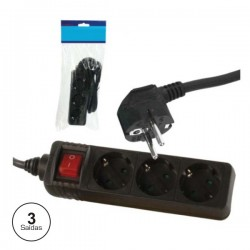 Extensão Eléctrica c/ 3 Saídas Interruptor 1.5M Preta