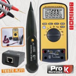 Multímetro Digital Autorange c/Testador Rj11/45 E Tone Prok