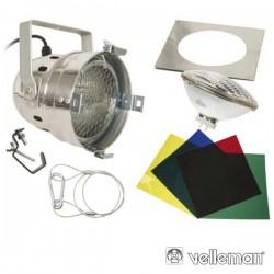 Projector Curto Par56 Cromado c/ 4 Filtros Velleman
