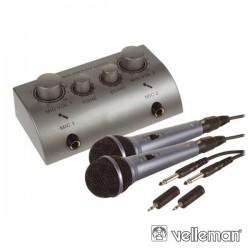 Conjunto de Karaoke c/ 2 Microfones E 1 Misturador Velleman