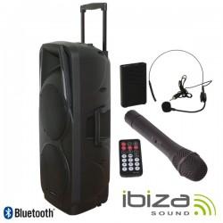 "Coluna Amplificada 2X15"" 1000W Usb/Bt/Sd/Bat Preta Ibiza"