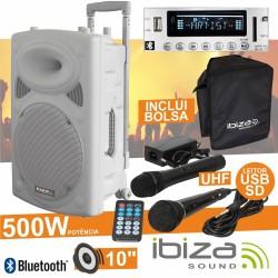 "Coluna Amplificada 10"" 500W Usb/Bt/Sd/Bat Uhf Branca Ibiza"